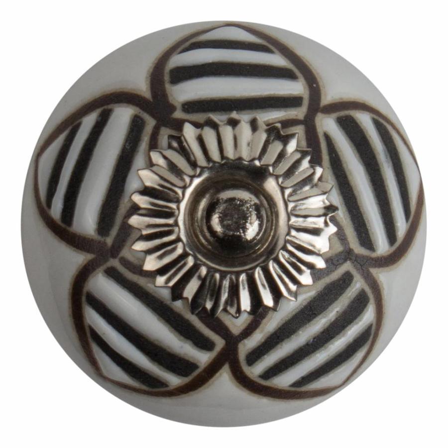 Meubelknop porselein reliëf deco CK5513 bloem wit zwart