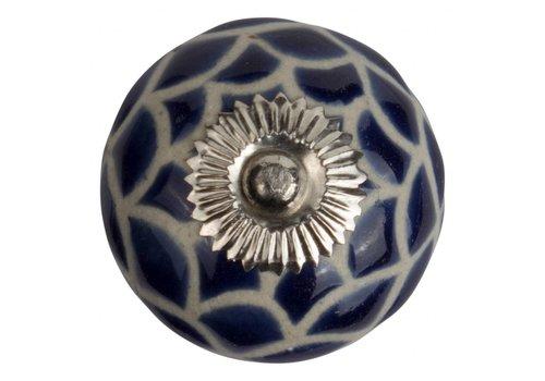 Meubelknop 40mm reliëf blauw wit