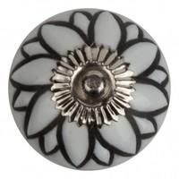 Meubelknop porselein reliëf deco CK5519 bloem wit zwart