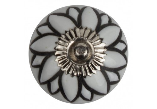 Meubelknop reliëf bloem wit zwart