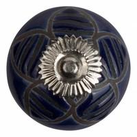 Meubelknop porselein reliëf deco CK5520 bloem blauw zwart