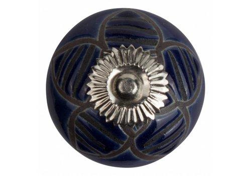 Meubelknop 40mm reliëf bloem blauw zwart