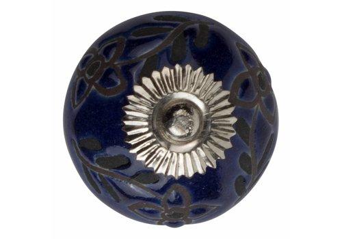 Meubelknop 40mm blauw reliëf Deco bloemen