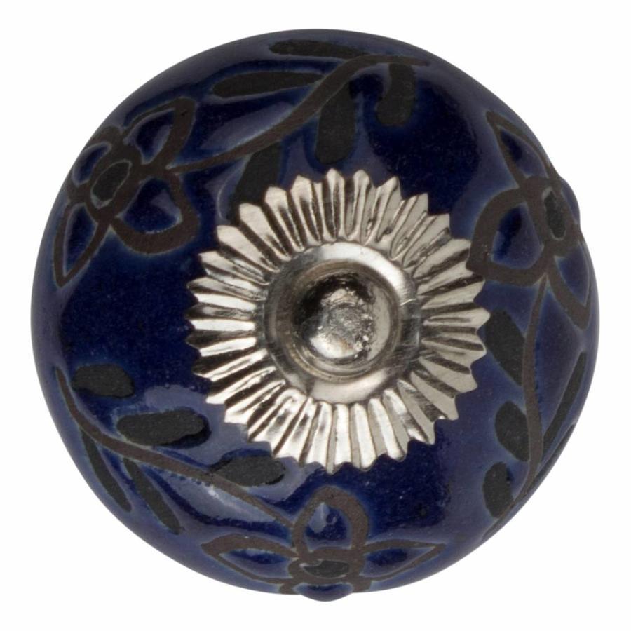 Meubelknop porselein reliëf deco CK5522 bloemen blauw zwart