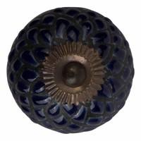 Meubelknop porselein reliëf Deco blauw en zwart