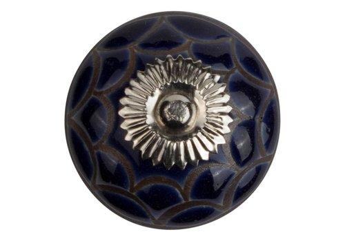Meubelknop 40mm reliëf  blauw/zwart