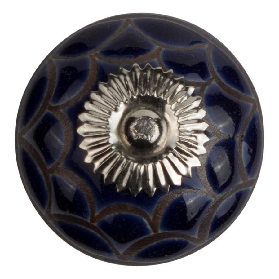 Meubelknop porselein reliëf Deco blauw zwart