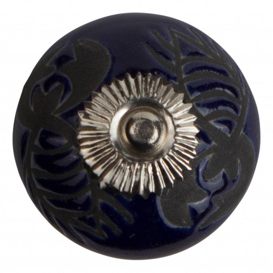 Meubelknop porselein reliëf Deco kreeft blauw zwart