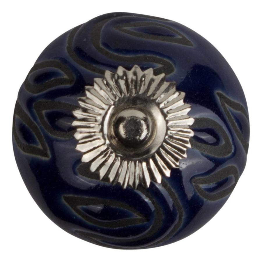Meubelknop porselein reliëf deco CK5527 - blauw zwart