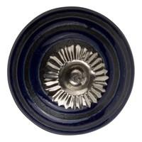 Meubelknop porselein  - blauw zwart cirkels