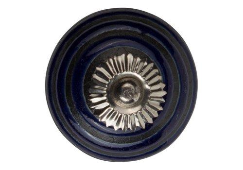 Meubelknop 40mm blauw/zwart cirkels