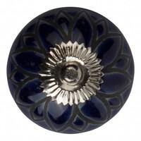 Meubelknop porselein reliëf deco CK5529 bloem blauw  zwart