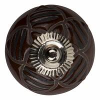 Meubelknop porselein reliëf deco CK5531 bloem bruin zwart