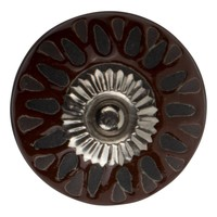 Meubelknop porselein reliëf deco CK5532 - bruin zwart