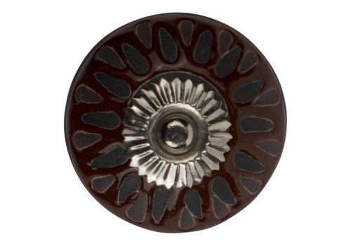 Meubelknop 40mm reliëf bruin/zwart