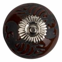 Meubelknop porselein reliëf Deco kreeft bruin zwart