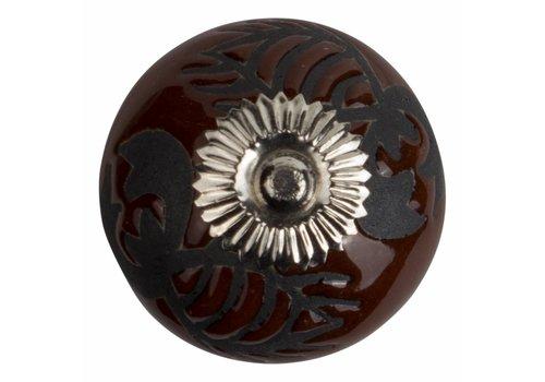 Meubelknop 40mm reliëf kreeft bruin/zwart