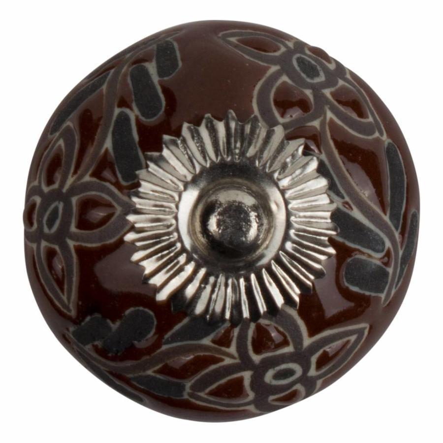 Meubelknop porselein reliëf deco CK5536 bloemen bruin zwart