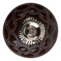 Meubelknop porselein reliëf Deco - bruin zwart