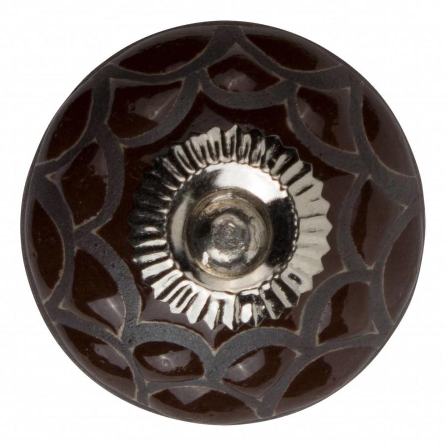 Meubelknop porselein reliëf deco  CK5539 - bruin zwart