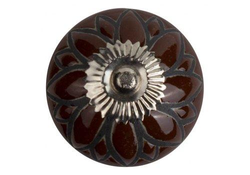 Meubelknop 40mm bruin/zwart bloem