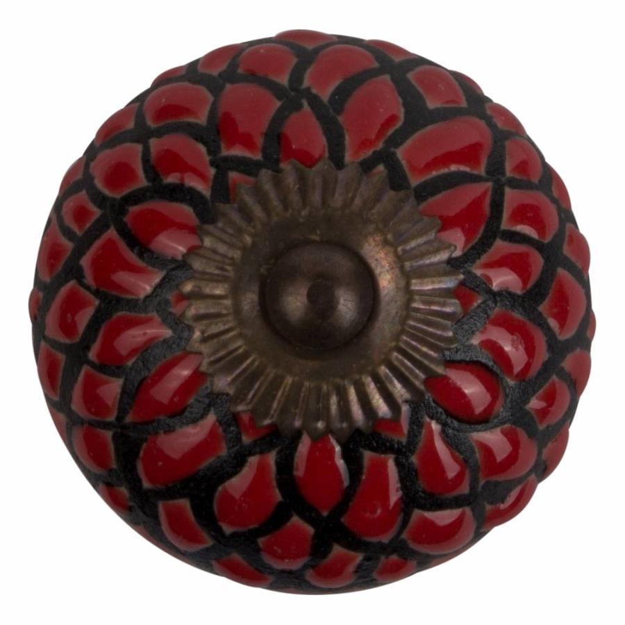 Meubelknop porselein reliëf Deco - rood/zwart bloem