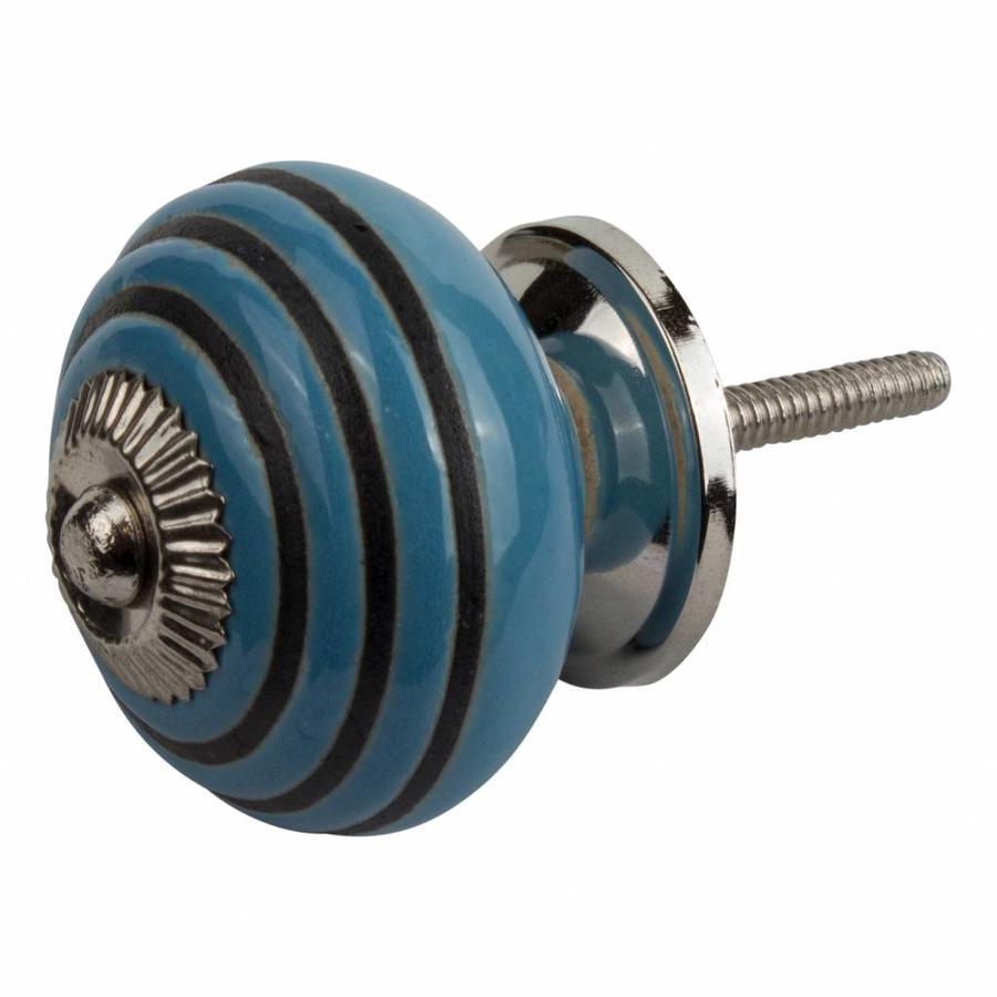 Meubelknop porselein reliëf deco CK5543 - blauw zwart
