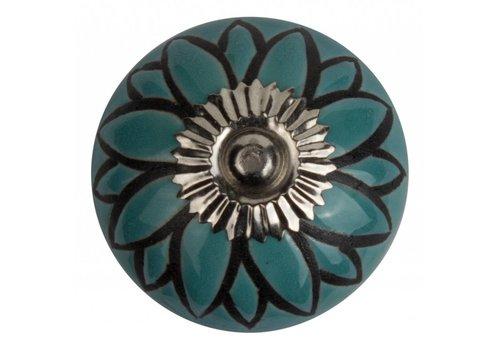 Meubelknop 40mm reliëf blauw/zwart bloem