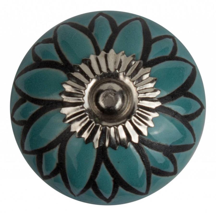 Meubelknop porselein reliëf deco bloem blauw zwart
