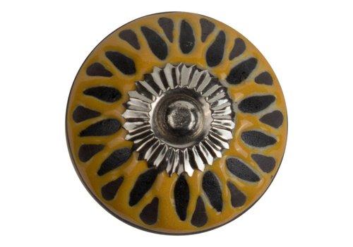 Meubelknop 40mm reliëf Deco geel/zwart