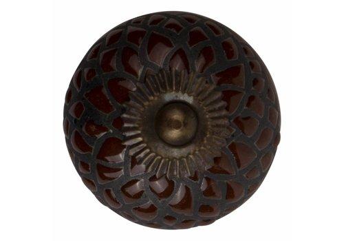 Meubelknop 40mm reliëf Deco bruin/zwart