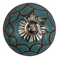 Meubelknop porselein reliëf Deco  - blauw zwart - Copy