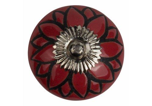 Meubelknop 40mm reliëf Deco bloem rood/zwart