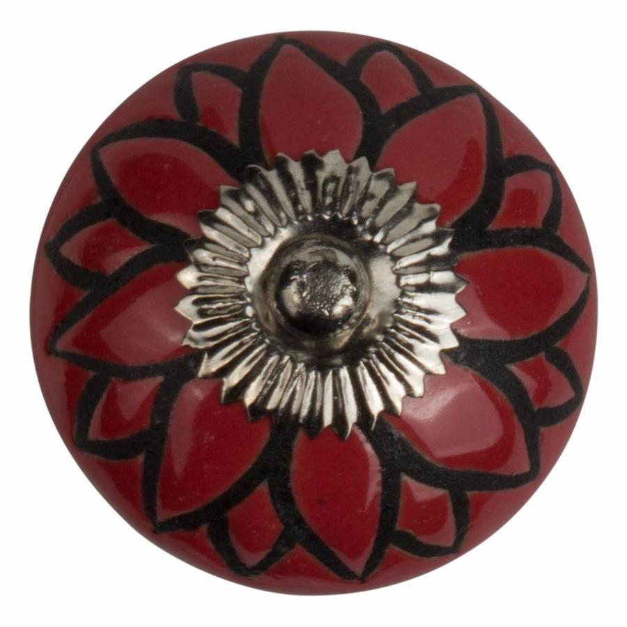 Meubelknop porselein reliëf Deco bloem rood zwart