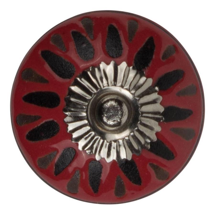 Meubelknop porselein reliëf Deco - rood zwart