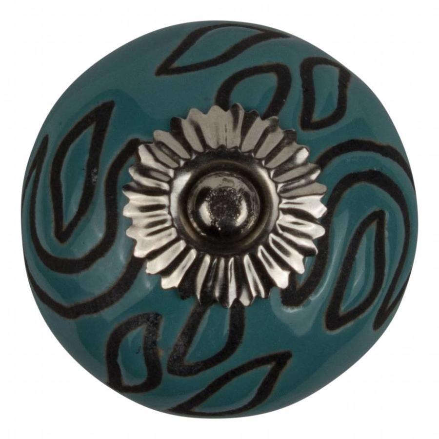 Meubelknop porselein reliëf Deco - blauw zwart
