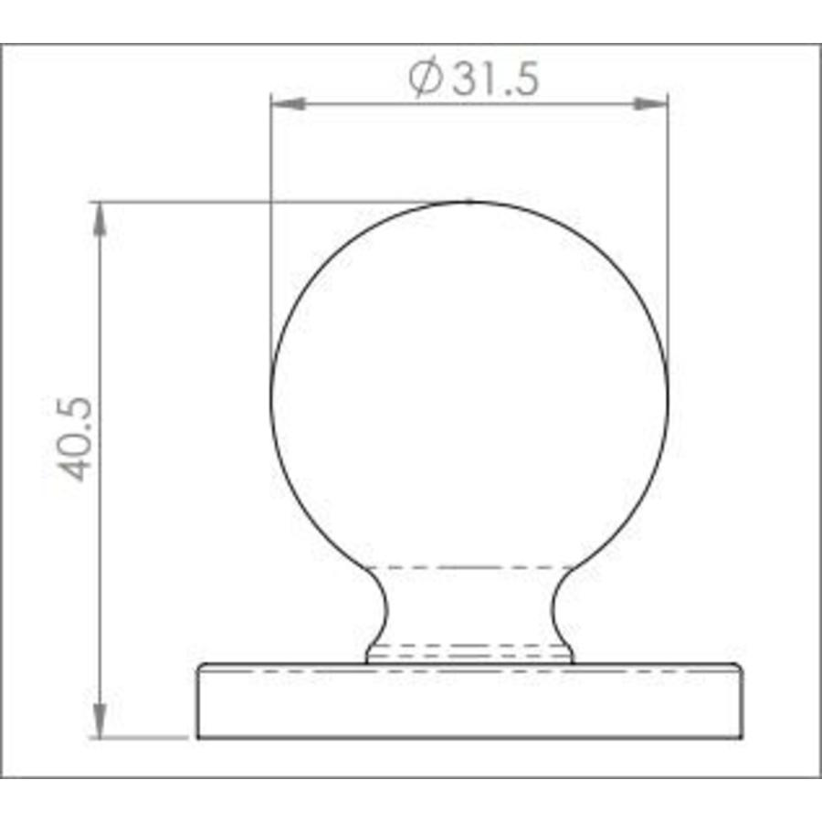 Gehamerde gietijzeren kogelknop 32mm op rozet - Pewter