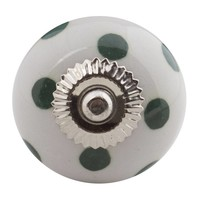 Porseleinen meubelknop wit groen gestippeld - donker