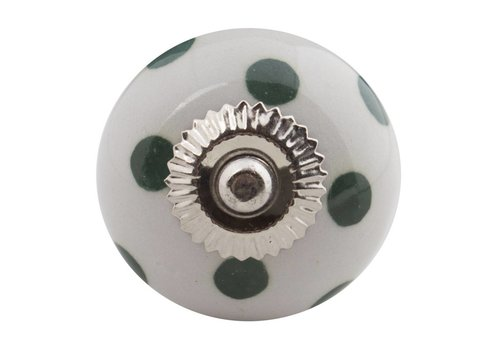 Meubelknop wit groen gestippeld - donker