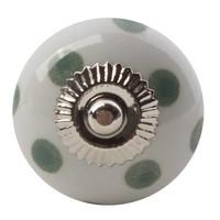 Porseleinen meubelknop wit groen gestippeld - licht