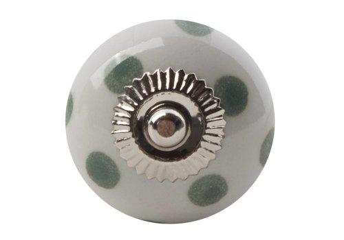 Meubelknop wit groen gestippeld - licht