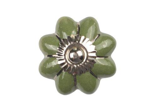 Meubelknop 40mm groen zilver bloem