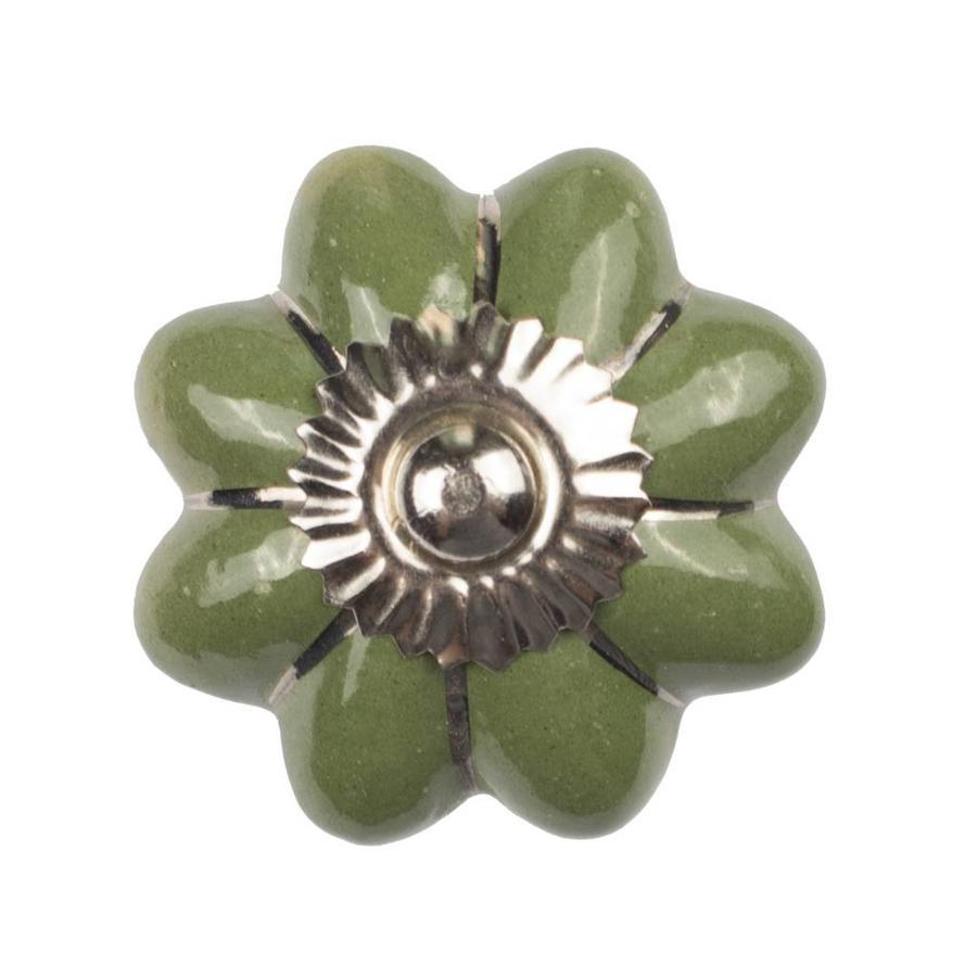 Porseleinen meubelknop groen zilver bloem