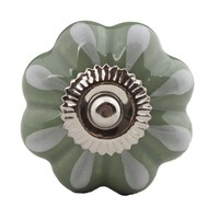 Porseleinen meubelknop groen wit bloem