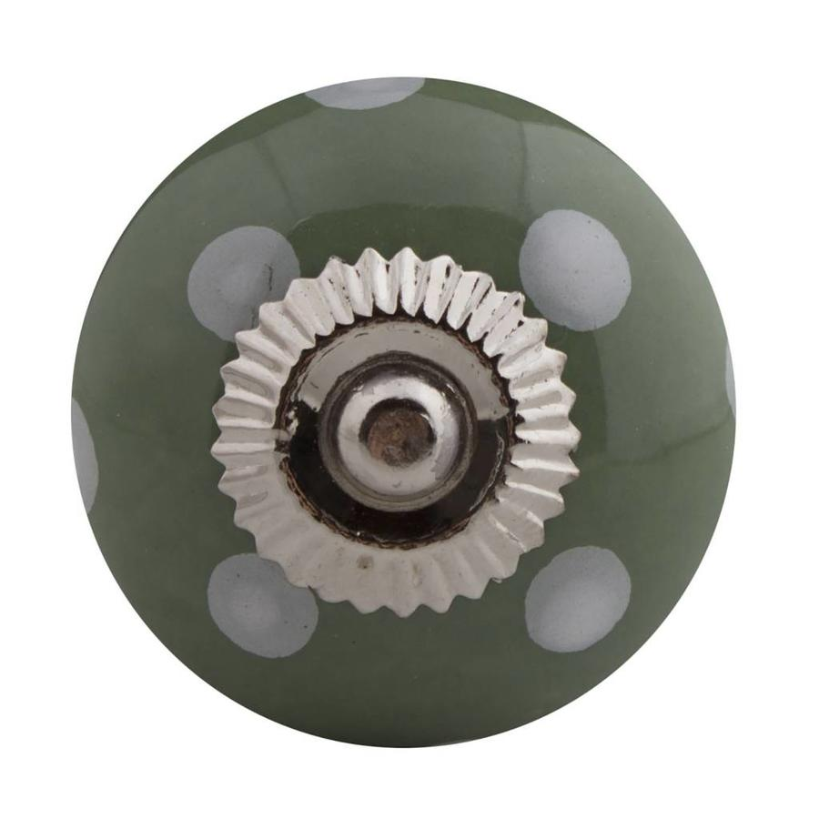 Porseleinen meubelknop groen wit gestippeld