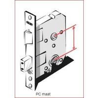 Gietijzeren deurkruk op schild - cilinderslot - pc-maat 72 - Pewter