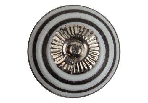 Meubelknop 40mm wit, zwarte strepen