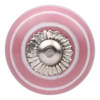 Porseleinen meubelknop roze wit gestreept 30mm