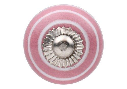 Meubelknop roze wit gestreept 30mm
