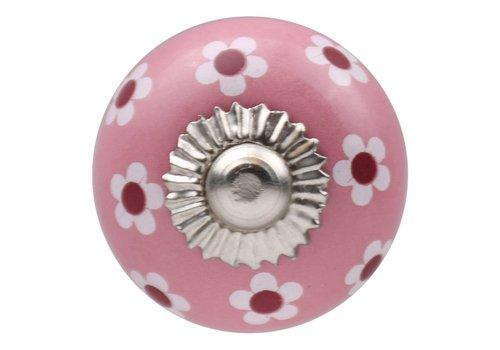 Meubelknop 30mm roze wit rode bloemetjes